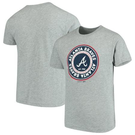Mlb Circle - Youth Heathered Gray Atlanta Braves Circle Logo T-Shirt