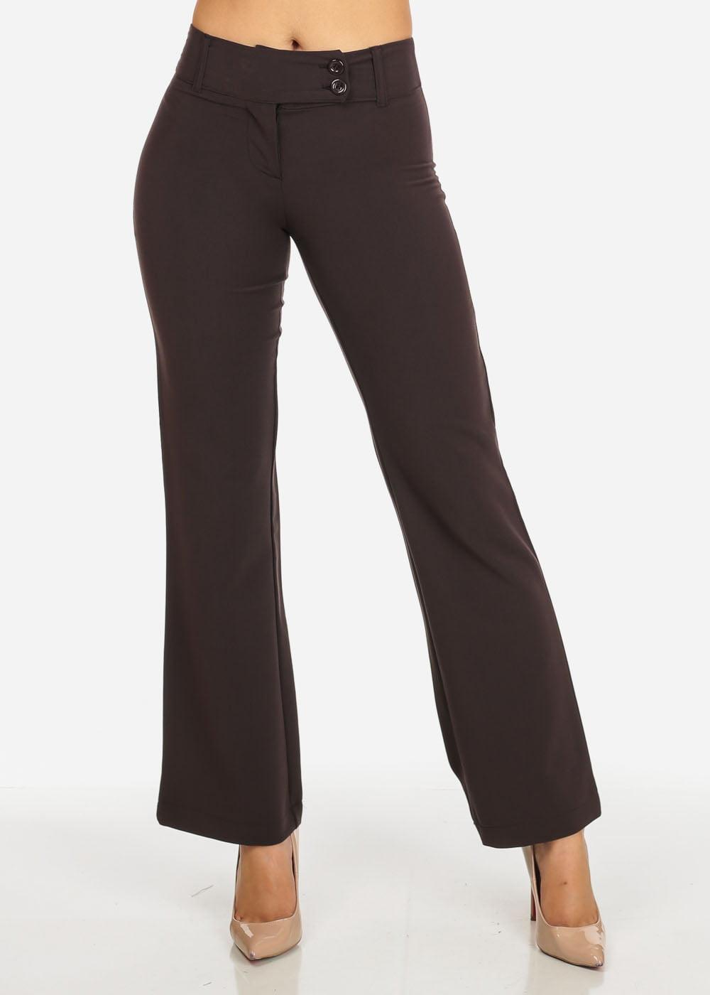 Womens Juniors Evening Wear Brown High Waisted 2-Button Straight Leg Pants 41014H