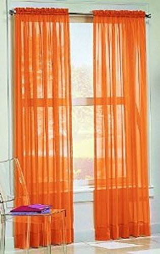 2PC HOME DECOR VOILE SHEER WINDOW ROD POCKET CURTAIN TREATMENT PANEL ORANGE