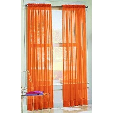 "Golden Linens 2 PC Rod Pocket Sheer Window Curtains Treatment Drape Voile Elegant Panels 55"" Width X 84"" Length ( Orange )"