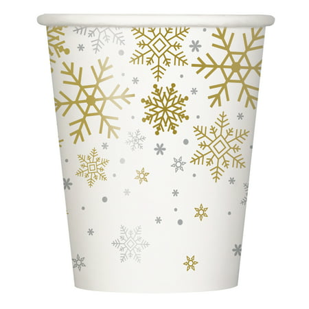 Silver & Gold Snowflakes Holiday Paper Cups, 9oz, 8ct