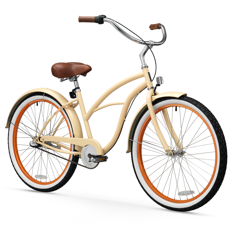"26"" sixthreezero Women's Scholar Three Speed Beach Cruiser Bicycle, Cream"