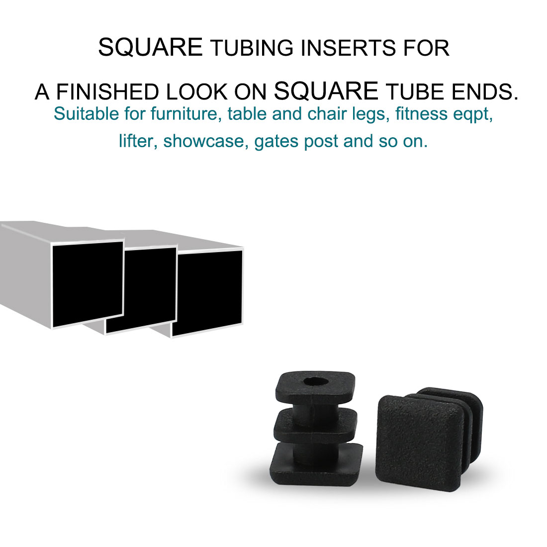 "Square Tube Insert Furniture Floor Protector for 0.28"" to 0.35"" Inner Size 13pcs - image 4 de 7"