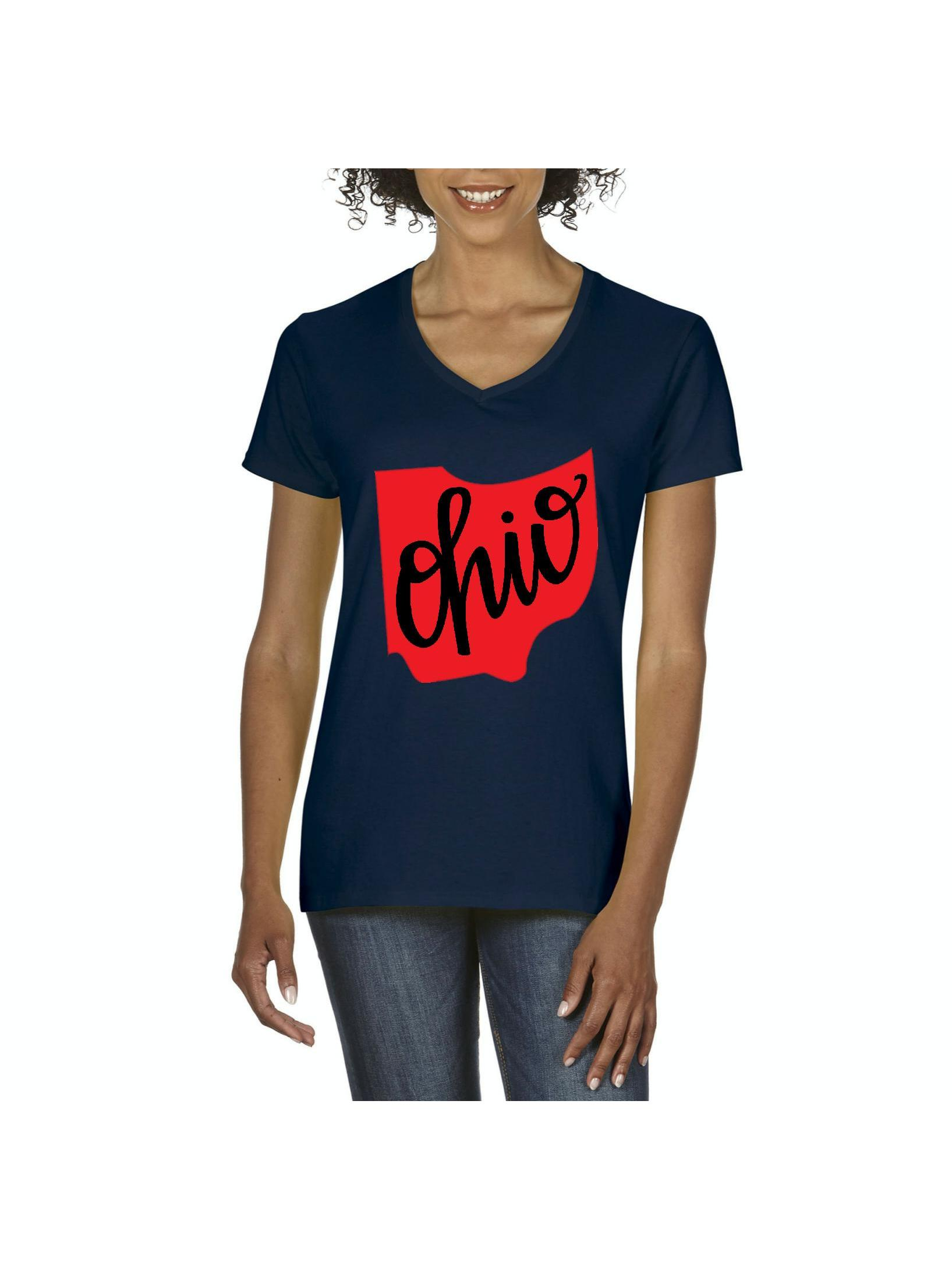 Girls Short Sleeve Retro Style North Carolina Silhouette T-Shirts XS-XL Casual Blouse Clothes
