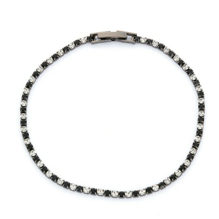X & O Black Rhodium Plated Crystal Single Row Bracelet in Jet and White Crystal Combination