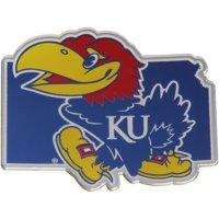 Kansas Jayhawks State Shape Acrylic Metallic Auto Emblem - No Size