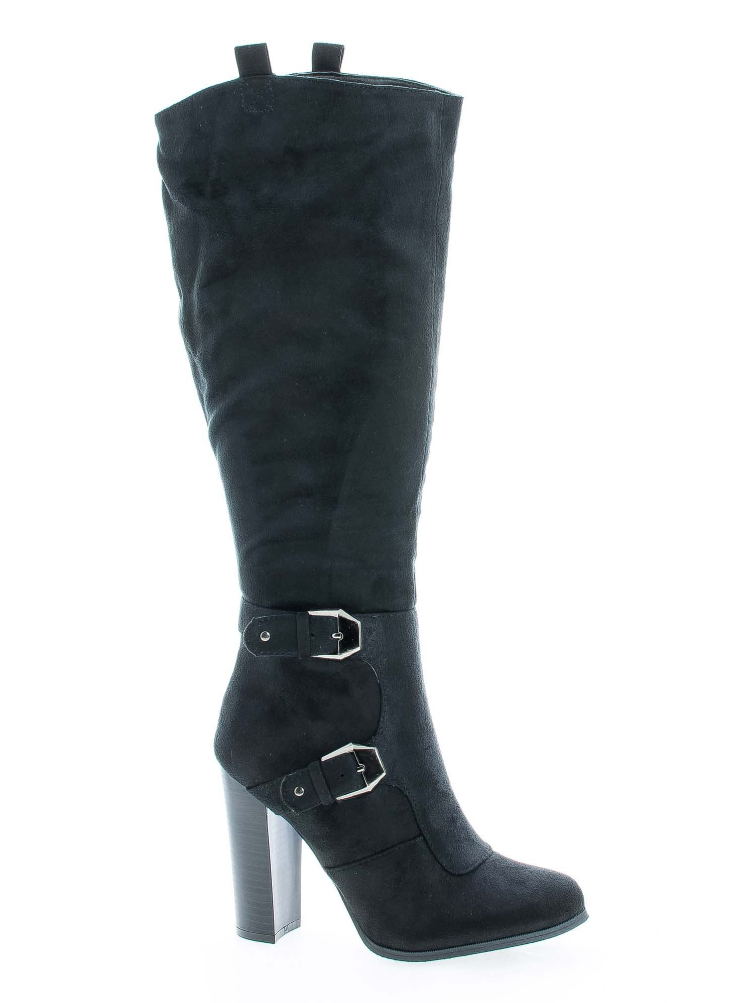 Emilia01 by Wild Diva, Almond Toe Knee High Stacked High Heel Boots