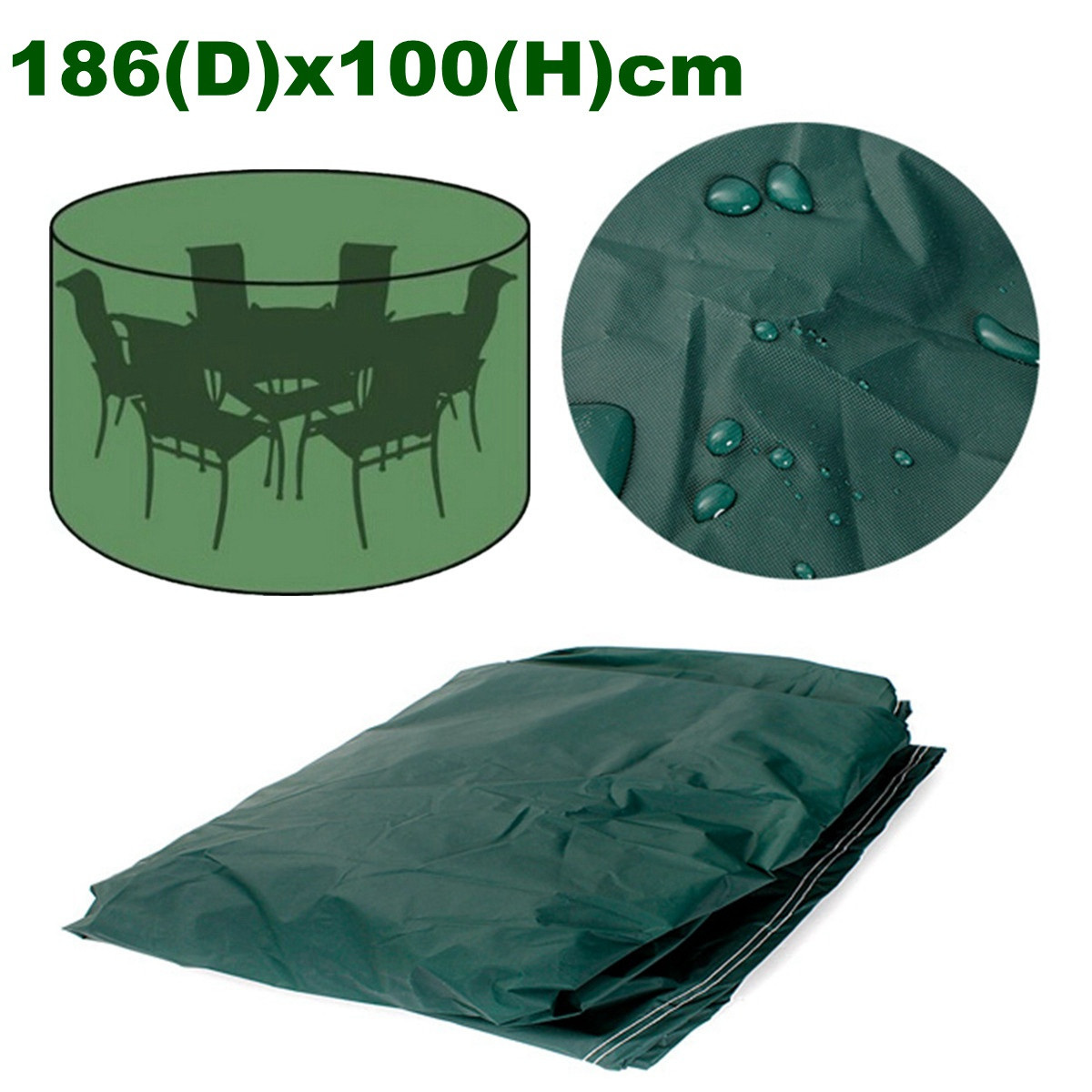 """Furniture Cover Round Outdoor Home Garden Protect Patio Table Chair Green 73"""" x 39"""" Polyethylene Waterproof Sun Rain Snow UV Resistant"""
