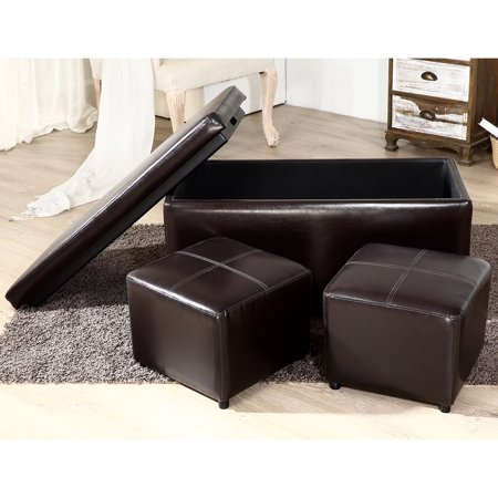 Belleze 3PC Storage Brown Ottoman Bench Footrest Large Space Living Room Set Faux Leather