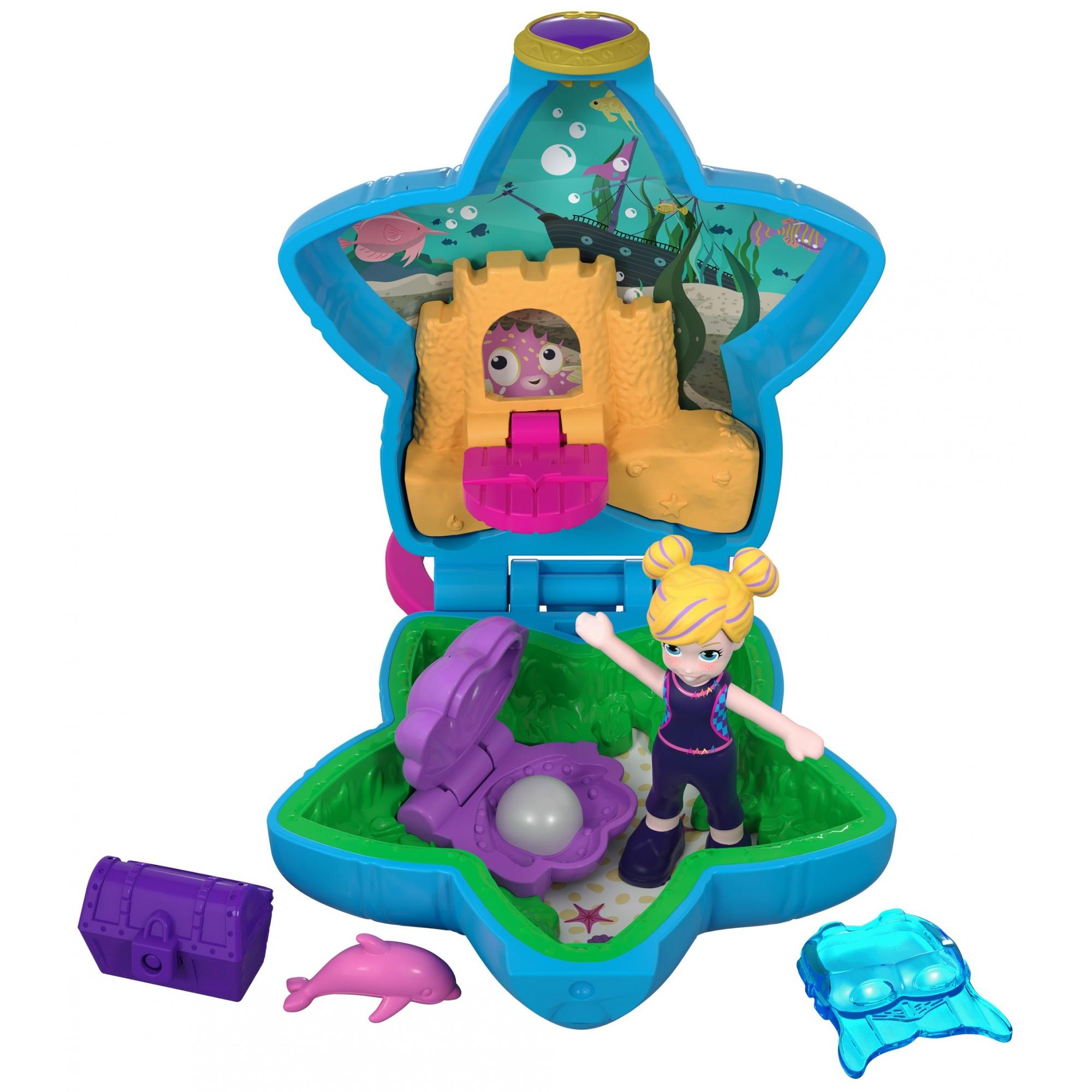 Polly Pocket Tiny Pocket Places Aqua Awesome Aquarium Compact with Micro Doll and Dolphin