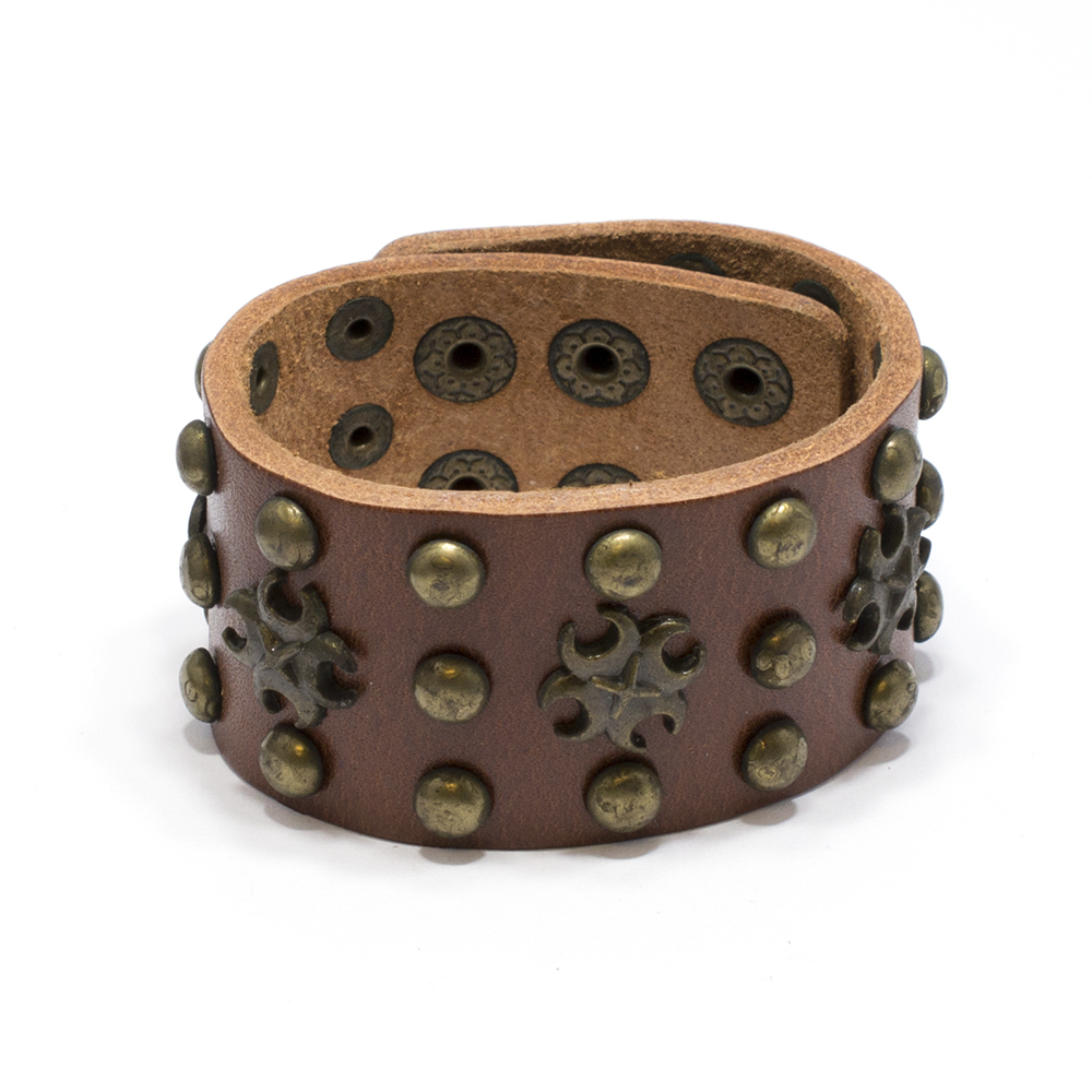 Leather Bracelet Brown Men Women Fashion Toxic Symbol Studded Cuff Wristband