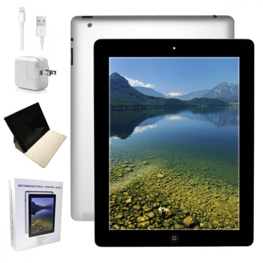 "Refurbished Apple iPad 4 with WiFi 9.7"" Touchscreen Tablet Featuring iOS 7 Operating System, Black"