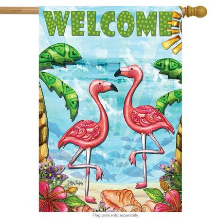 "Flamingo Beach Summer House Flag Welcome Tropical Birds  28"" x 40"""