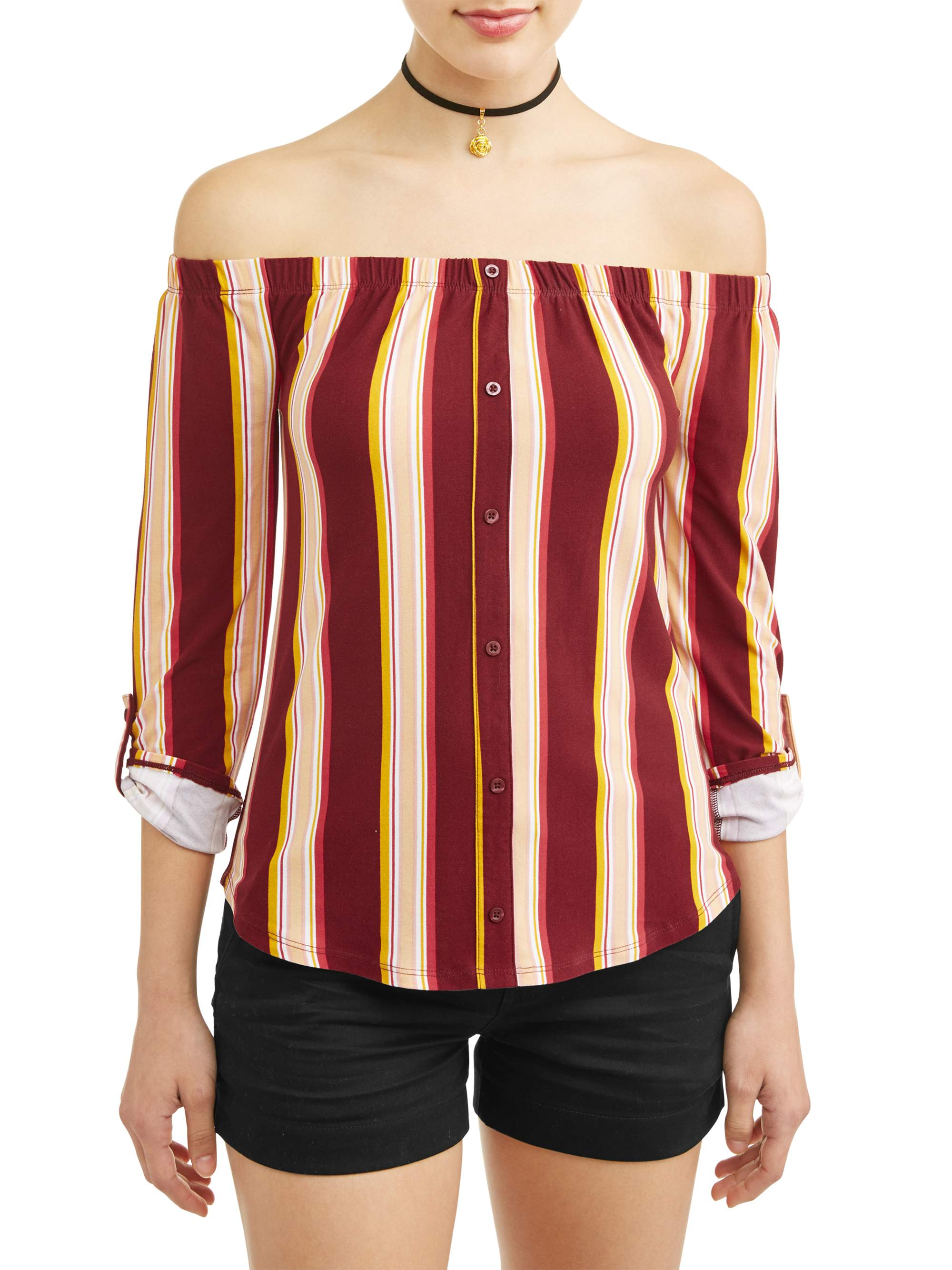 Juniors' Printed Off the Shoulder Blouse with Necklace 2Fer