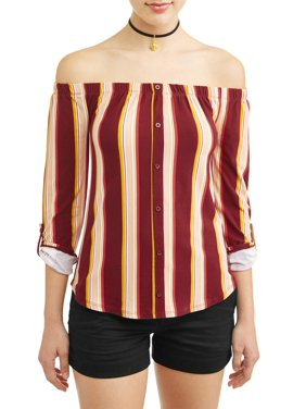 f770e4bd1804a Product Image Juniors  Printed Off the Shoulder Blouse with Necklace 2Fer