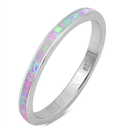 Lab Created Pink Opal Band .925 Sterling Silver Ring sizes (Sterling Silver Lab)