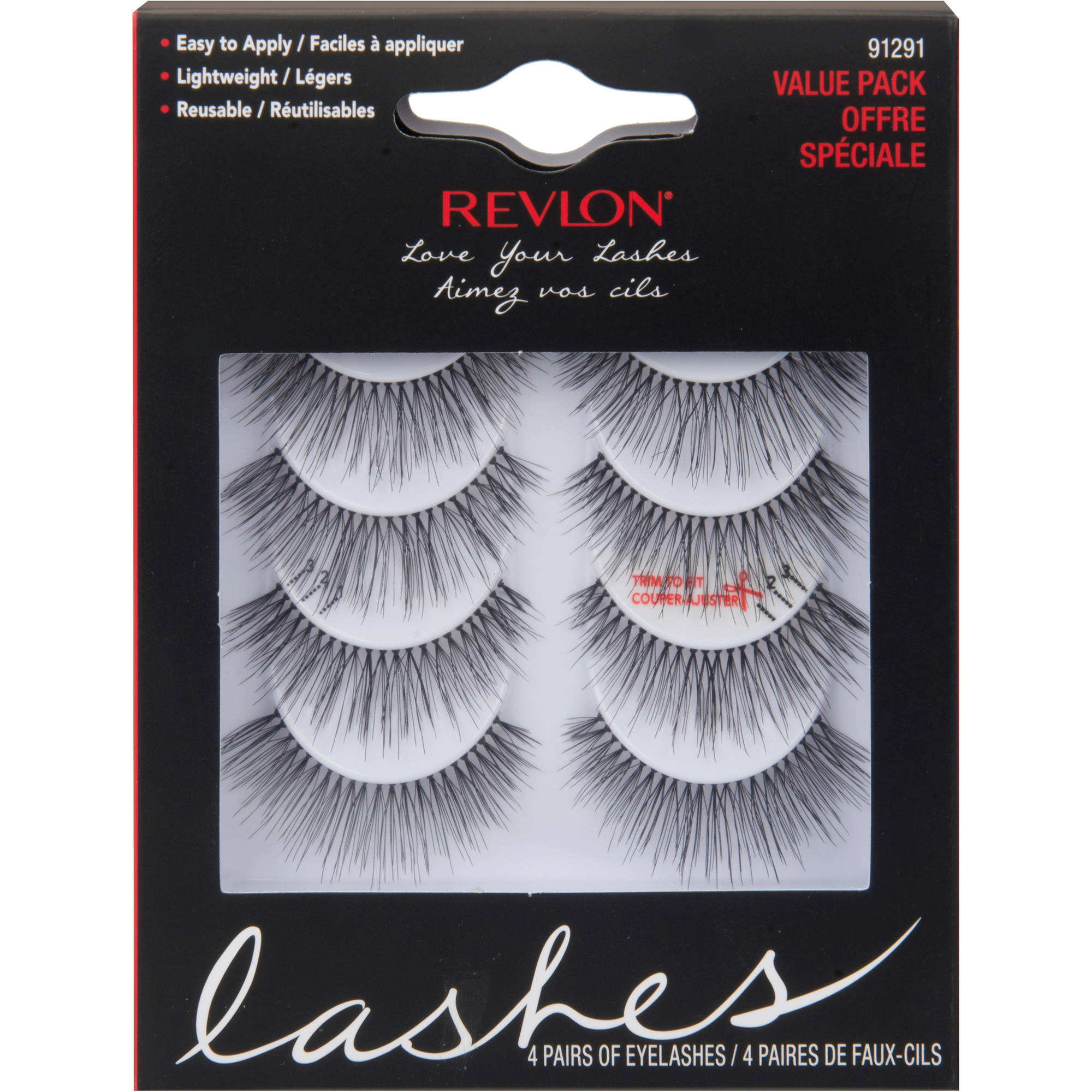 Revlon Love Your Lashes Eyelashes, Black, 4 pairs