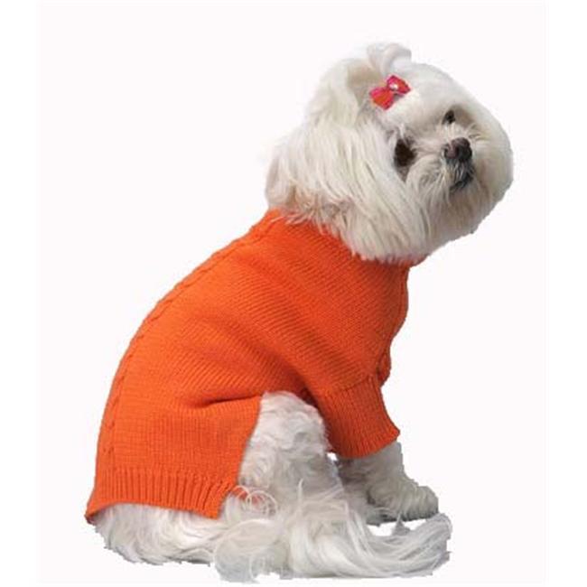 A Pets World 07153707-12 Mercerized Cotton Roll Neck Cable Orange Citrus Dog Sweater