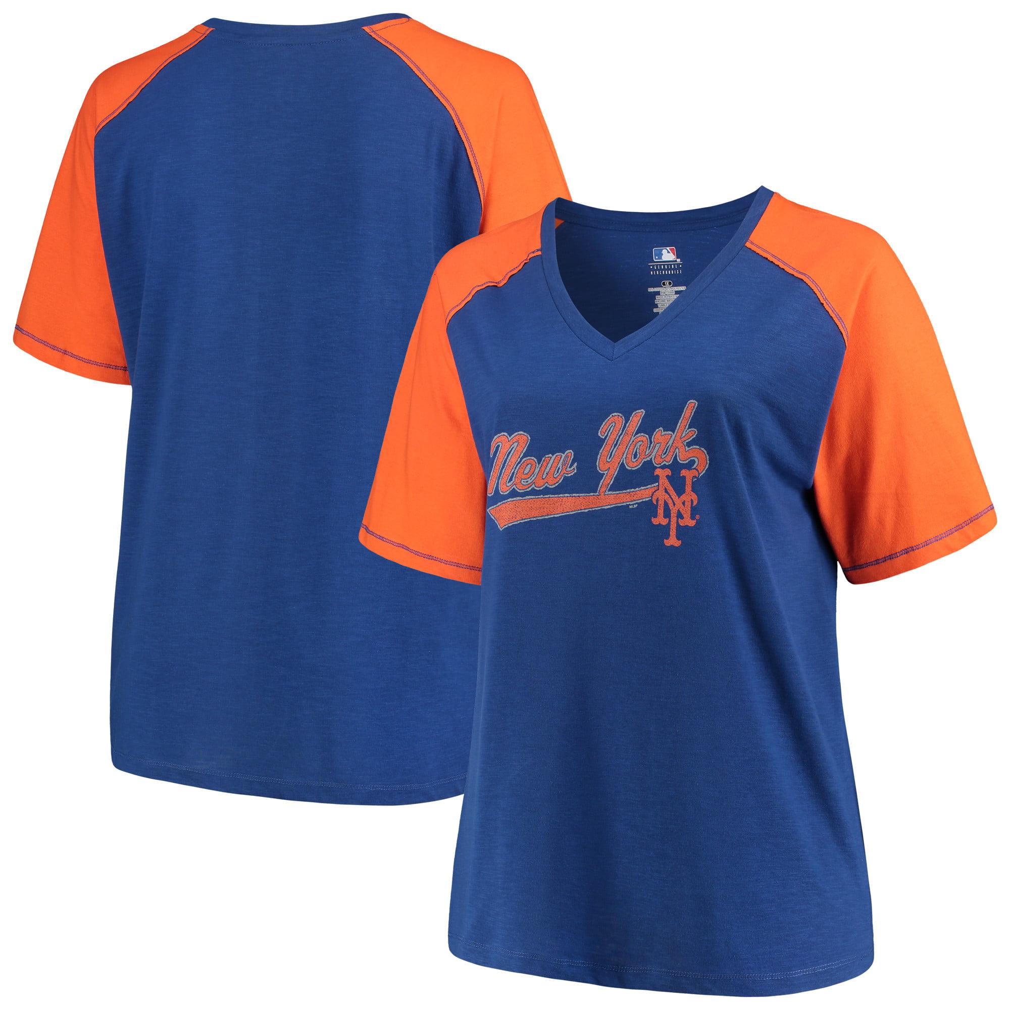 Women's Majestic Royal/Orange New York Mets Plus Size High Percentage Raglan V-Neck T-Shirt