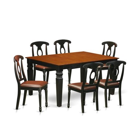 Kitchen Set with a Single Weston Dining Room Table & Six Faux Leather Upholstery Kitchen Area Chairs, Distinctive Black - 7 Piece