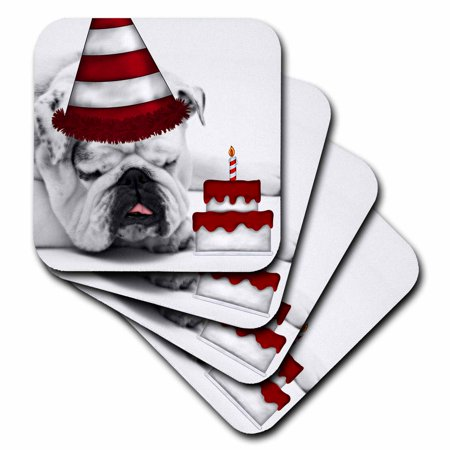 3dRose Cute Bulldog with a Birthday Hat and Birthday Cake., Soft Coasters, set of 8