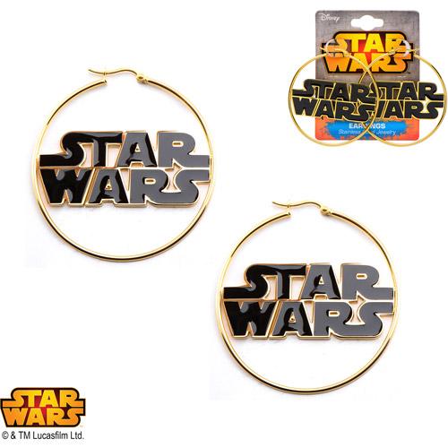 Disney Stainless Steel Star Wars Logo Gold IP 50mm Hoop Earrings