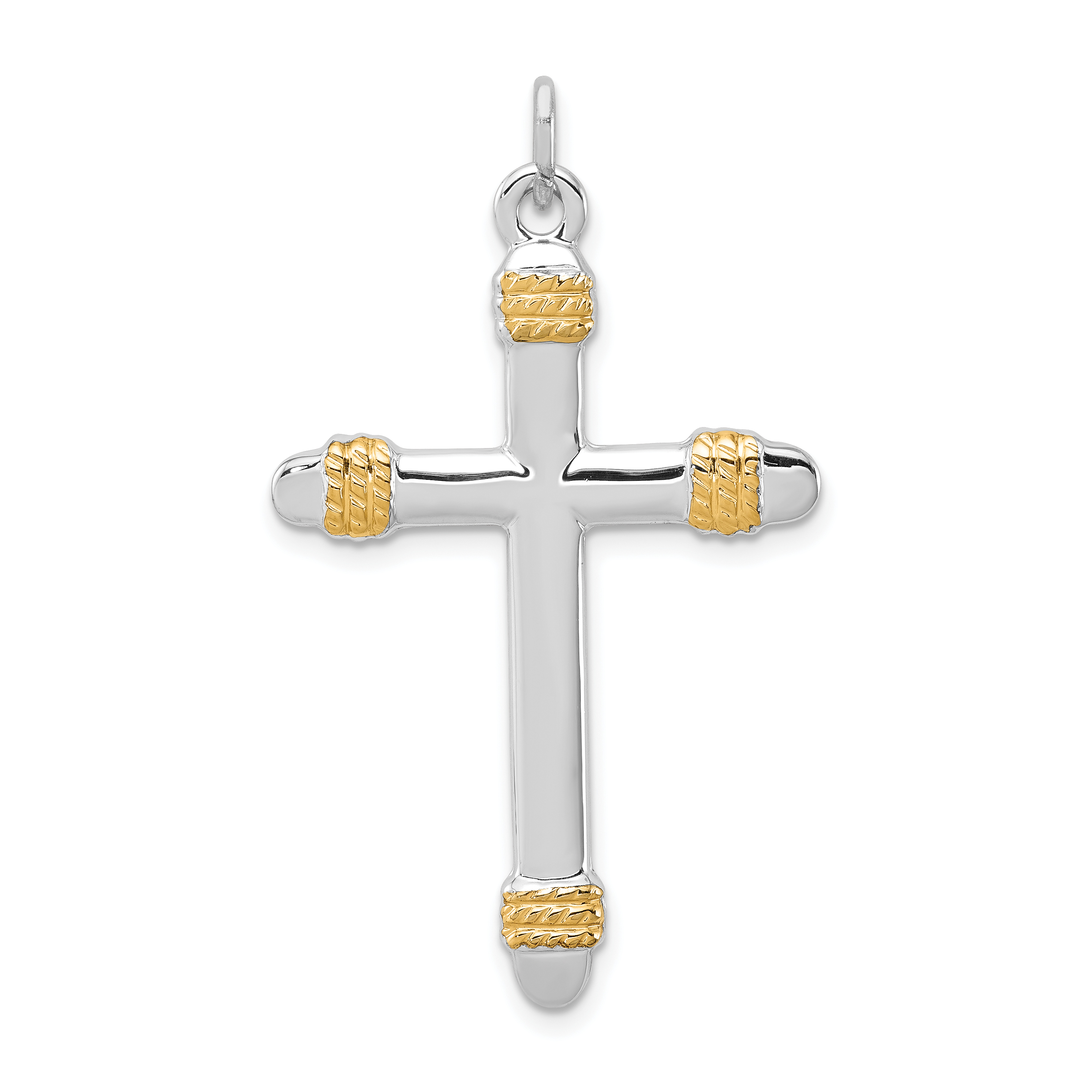 925 Sterling Silver 18k Gold Plated Rope Cross Religious Pendant Charm Necklace Latin Fine Jewelry Gifts For Women For Her - image 2 of 2