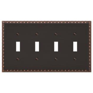 4-Gang Quad Toggle Egg & Dart Switch Plate Outlet Cover Wall Plate - Oil Rubbed Bronze Quad Switchplate Cover