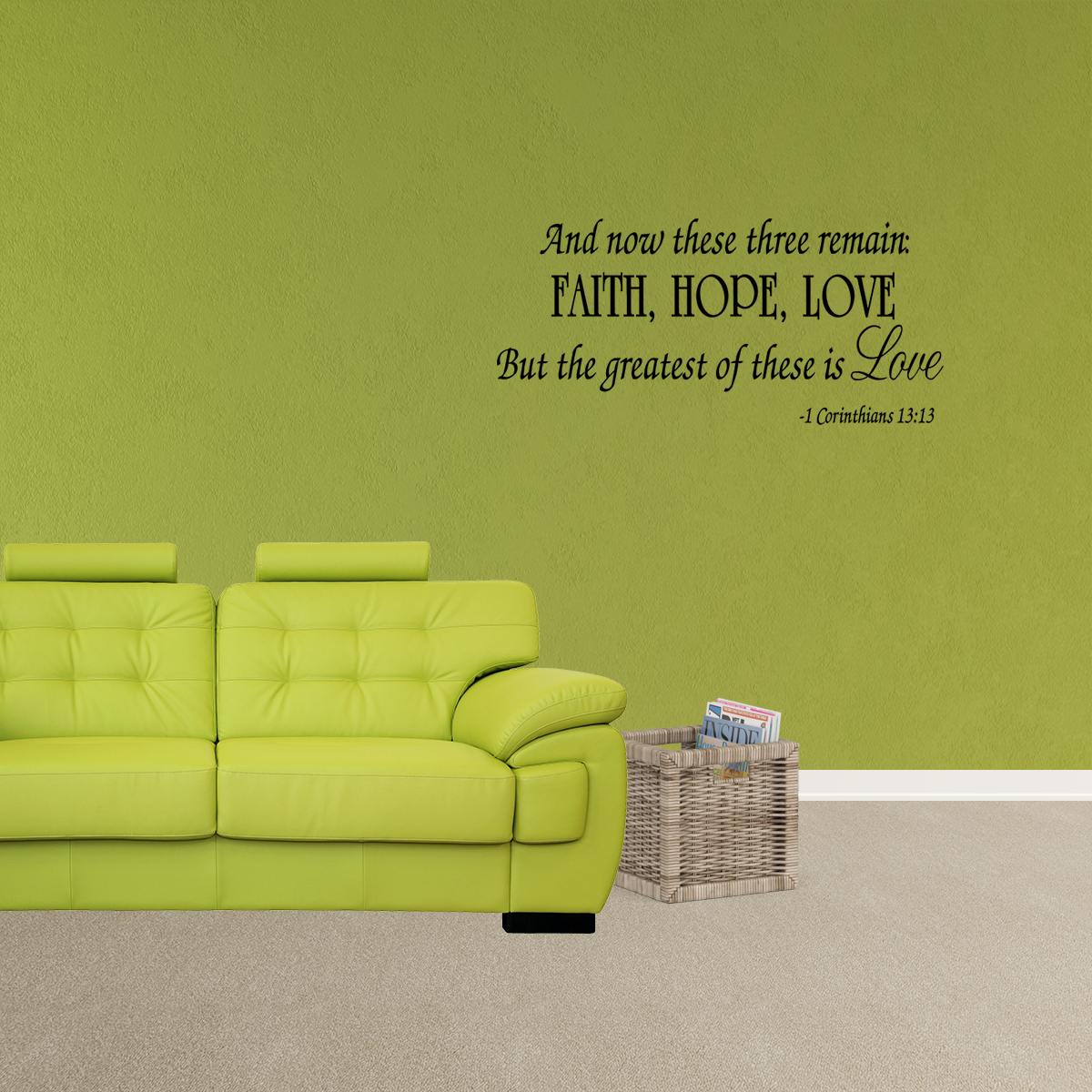 Faith Hope Love Corinthians Wall Decal Quote Scripture Bible Verse Quotes Vinyl A46