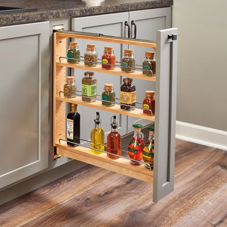 Rev-A-Shelf 6 Inch Wood Pullout Base Organizer with Top Slide - Natural, Min. Cabinet Opening: 6