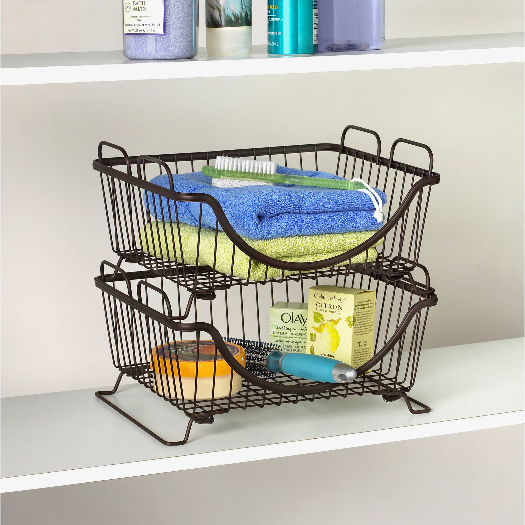 Spectrum Diversified Designs Ashley Stacking Basket Tray, Multiple Colors
