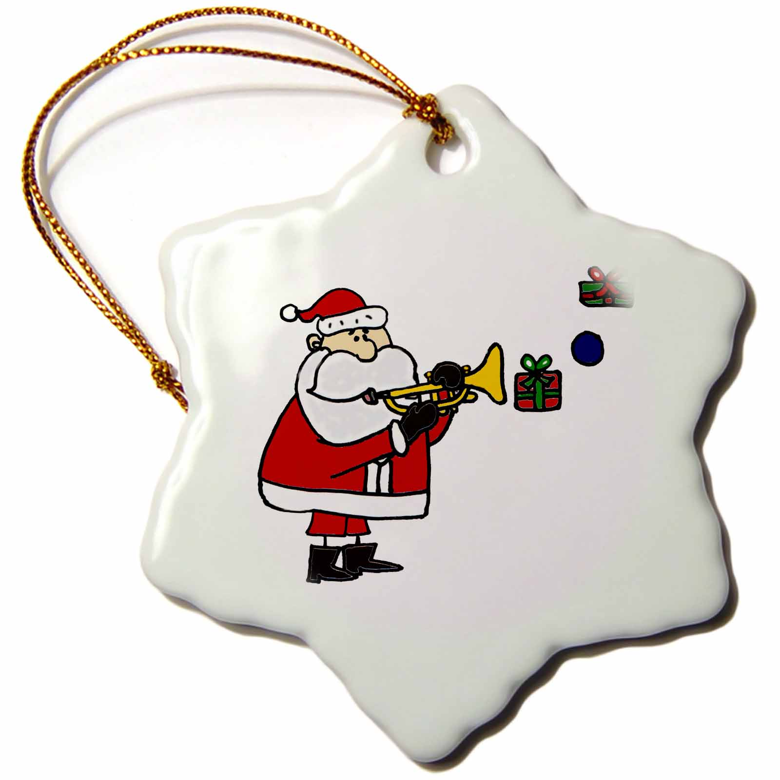 3dRose Funny Santa Claus Playing Trumpet with Christmas Presents, Snowflake Ornament, Porcelain, 3-inch