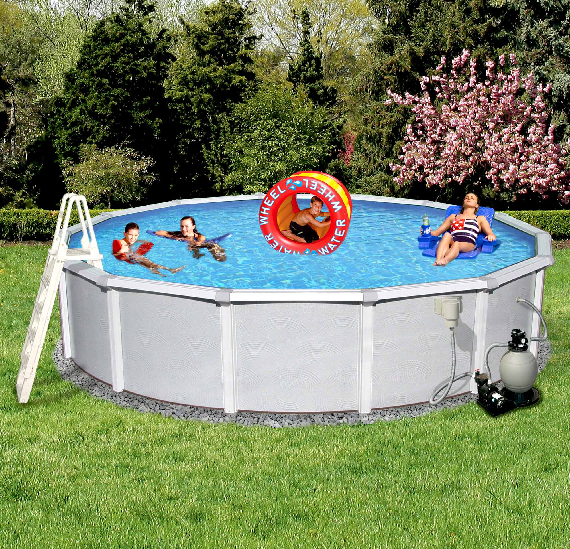 Blue Wave Samoan 15-ft Round 52-in Deep 8-in Top Rail Metal Wall Swimming Pool Package by Blue Wave