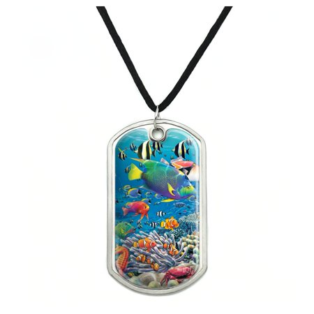Ocean Coral Reef Angel Clown Fish Diving Military Dog Tag Pendant Necklace with Cord Angel Fish Necklace