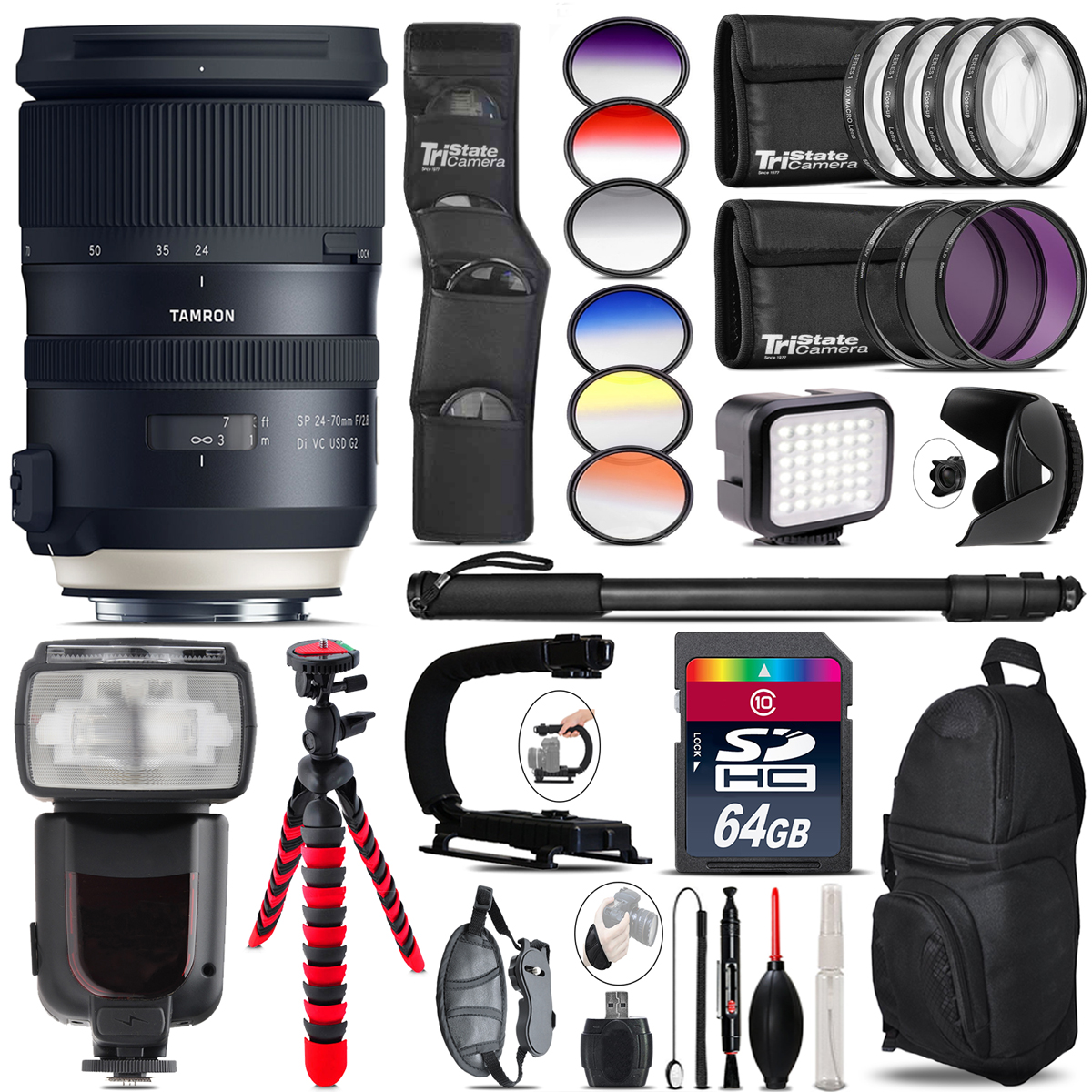 Tamron 24-70mm VC G2 for Canon + Pro Flash + LED Light - 64GB Accessory Bundle