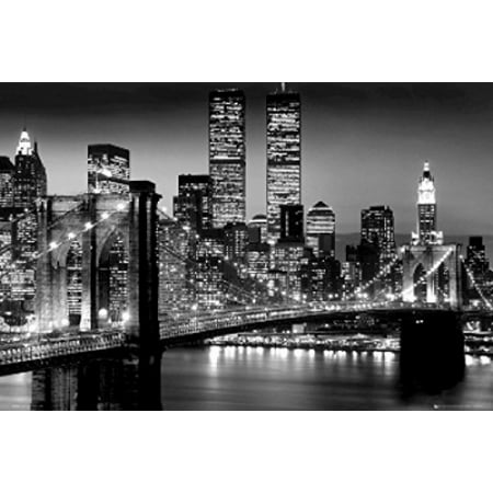 New york city brooklyn bridge night poster poster print - Grand tableau new york ...