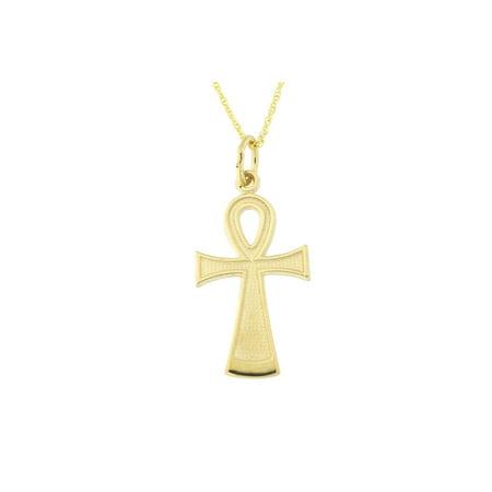 10k Yellow Gold Egyptian Ankh Cross Pendant Necklace