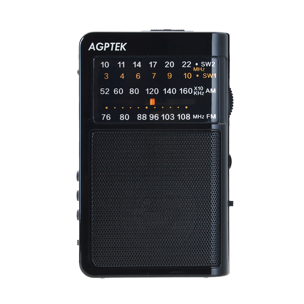 AGPTEK Mini Pocket Am/fm Radio, Protable AM/FM/SW World Band Receiver with MP3 Player ,Support Micro SD/USB Disk, Black