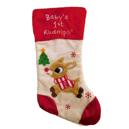 Ivory Snowflake Babys 1st Rudolph Christmas Stocking Holiday Decor - Rudolph Stocking