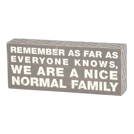 New Primitives by Kathy 10 x 4 Gray And White Wood Box Sign, Normal Family