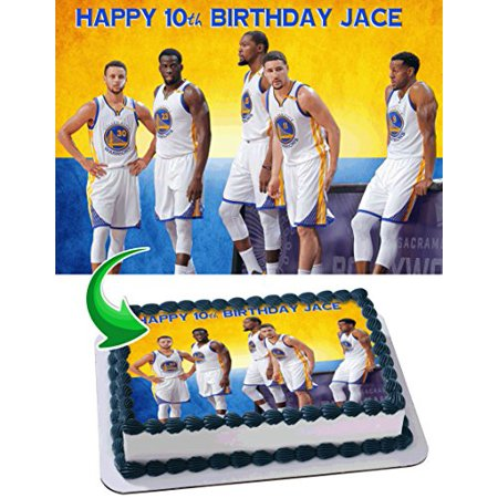Warriors Edible Cake Topper Personalized Birthday 1/4 Sheet Decoration Custom Sheet Birthday Frosting Transfer Fondant Image- (Custom Decorations)