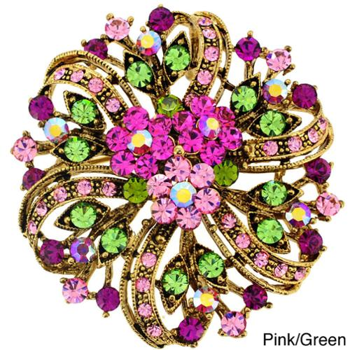 Fantasyard Fuchsia Pink Flower Crystal Wedding Pin Brooch