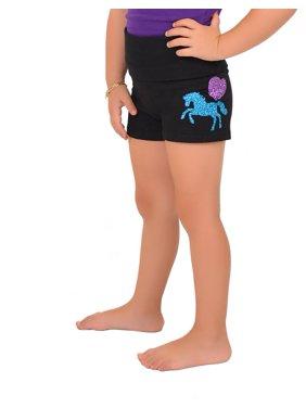 Girl's Vinyl Pink Heart Unicorn Yoga Shorts - Small (6) / Black
