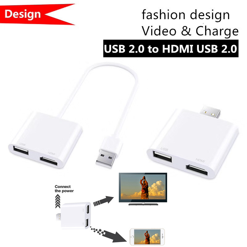 2-in-1 USB 2.0 to   USB 2.0 Ad ter 1080p Converter Connect to TV Monitor Display S n For Windows 7/8/10 Computer iOS Android Smartphone