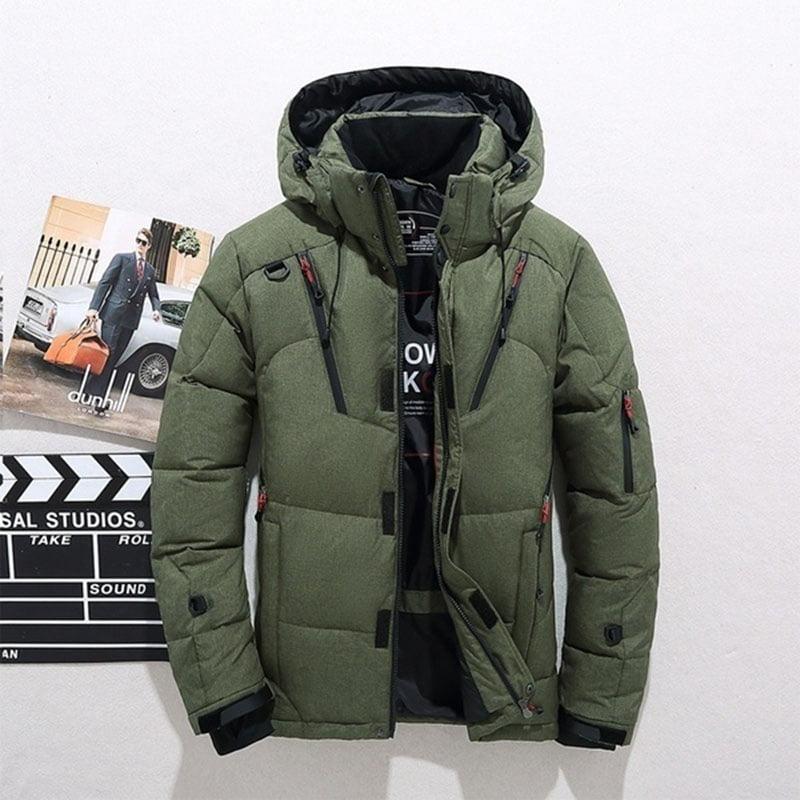 U-shot Men Winter Black Warm Jacket Hooded Outwear Removable Coat