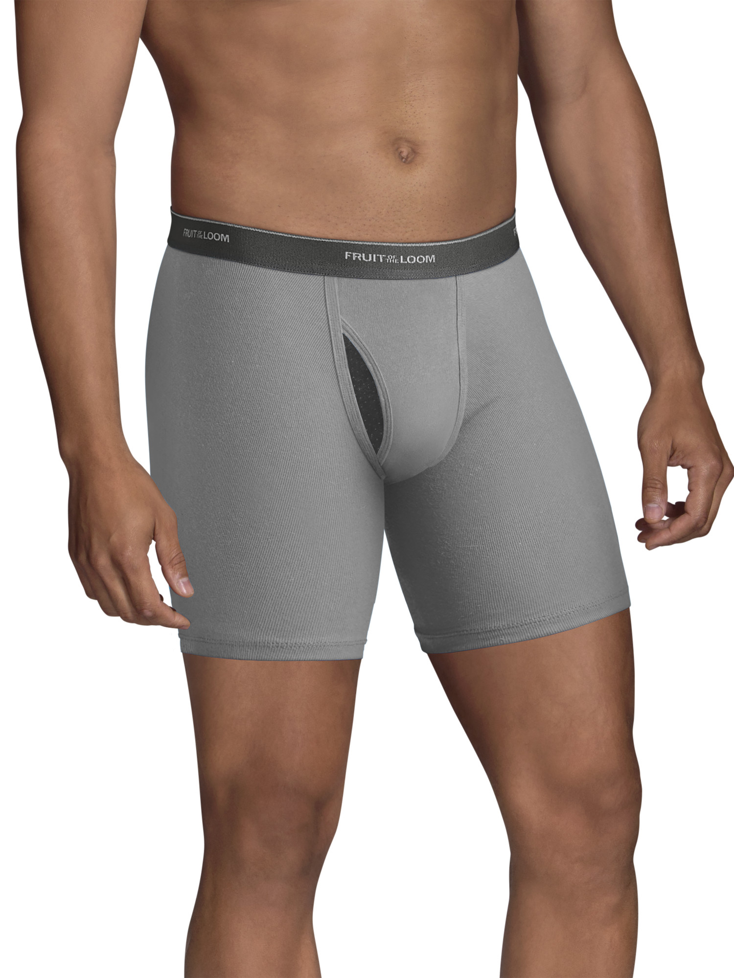 Big Men's CoolZone Fly Dual Defense Black and Gray Boxer Briefs, Extended Sizes, 4 Pack