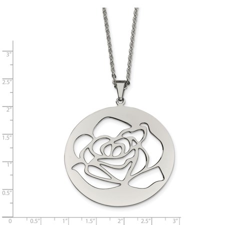 Stainless Steel Rose Cutout Pendant Necklace 22in - image 1 of 3
