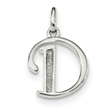 925 Sterling Silver Glitter Enamel Letter D Pendant Charm Necklace Initial Gifts For Women For Her - Enamel Love Letter Charm
