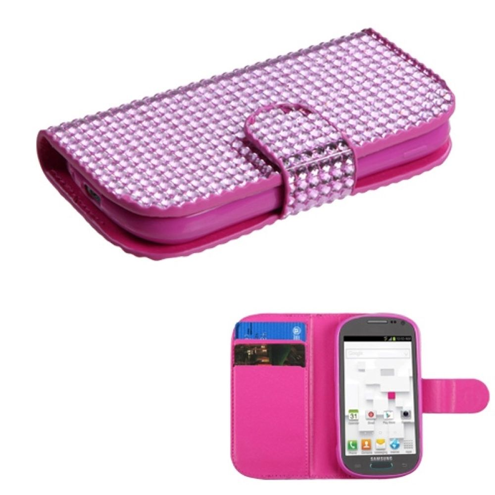 Insten Pink Diamonds Crystal Bling Book-Style MyJacket Wallet Case For SAMSUNG T599 Galaxy Exhibit