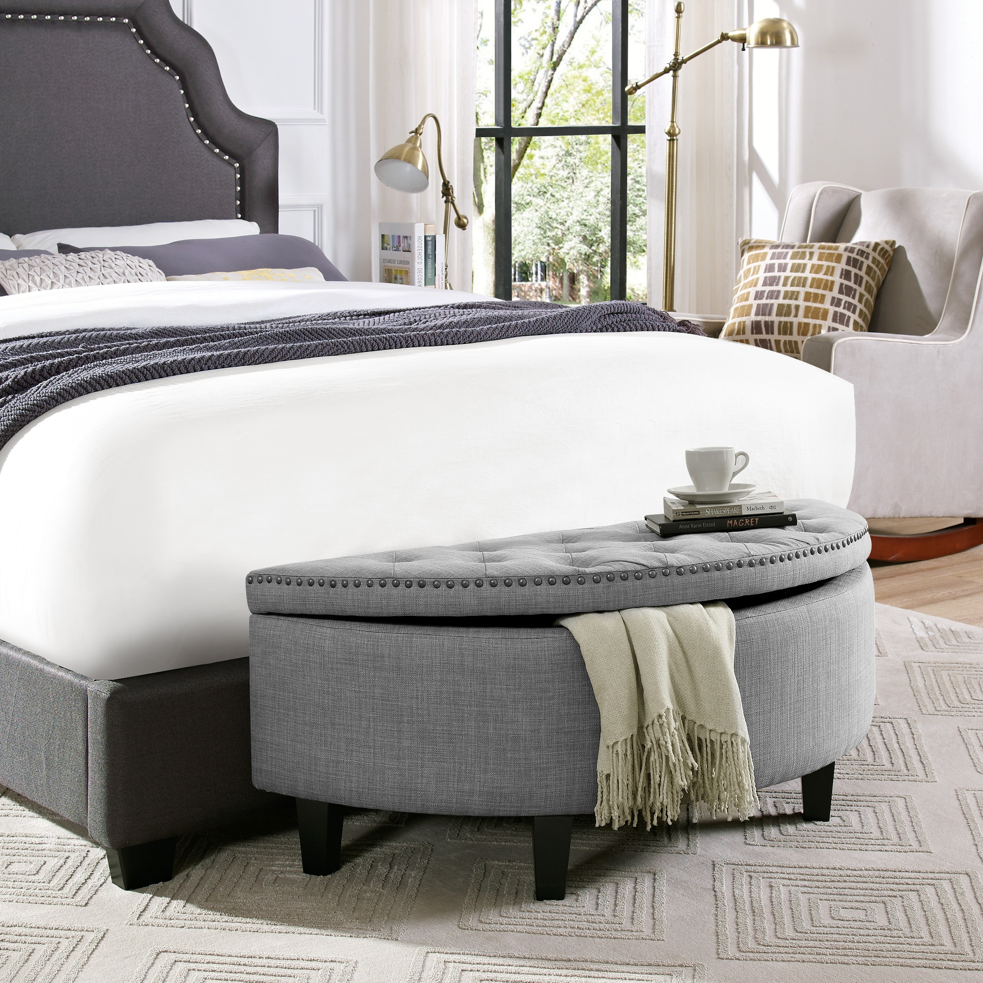 Martin Light Grey Linen Storage Ottoman - Half Moon | Tufted | Nailhead | by Inspired Home